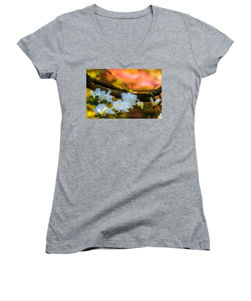 Women's V-Neck T-Shirt (Junior Cut) featuring the photograph White Azaleas In The Garden by John Harding
