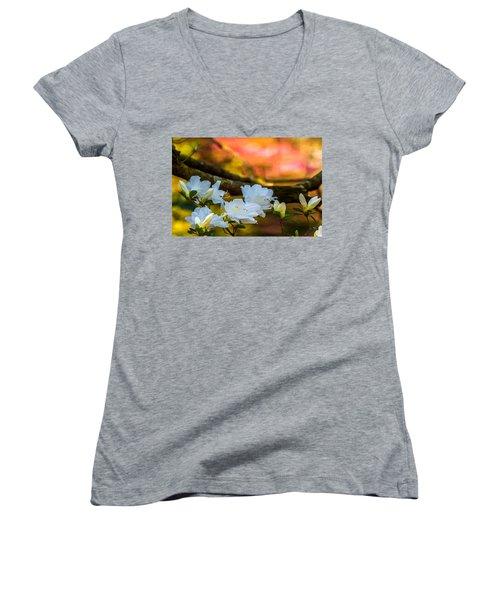 White Azaleas In The Garden Women's V-Neck T-Shirt