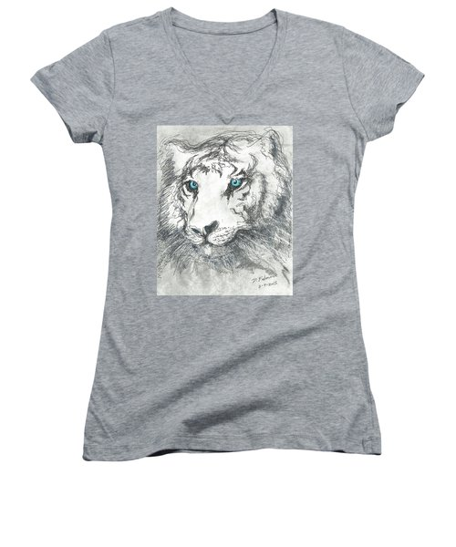 White Bengal Tiger Women's V-Neck T-Shirt (Junior Cut) by Denise Fulmer