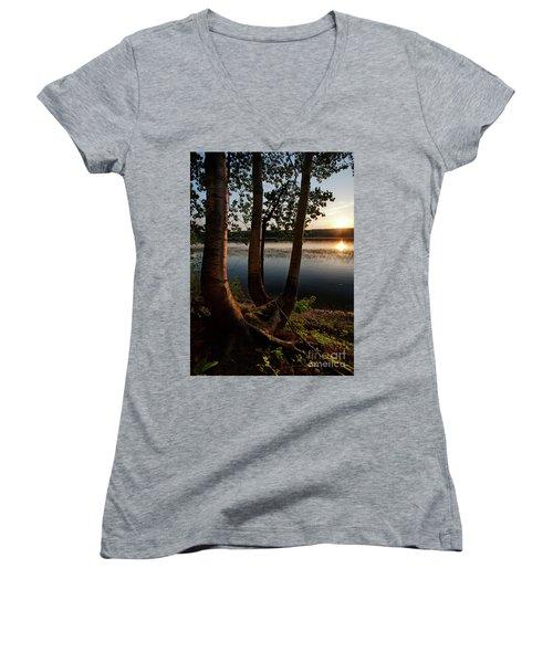 White Birch And Kennebec River At Sunset, South Gardiner, Maine  Women's V-Neck