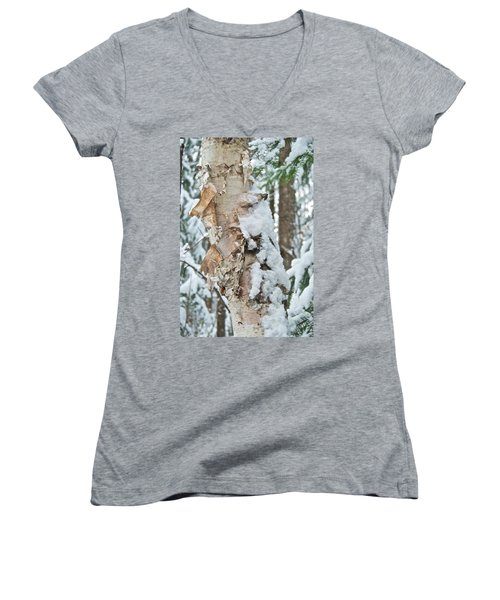 White Birch With Snow Women's V-Neck T-Shirt (Junior Cut) by Michael Peychich
