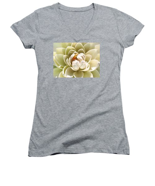 White Blooming Lotus Women's V-Neck (Athletic Fit)