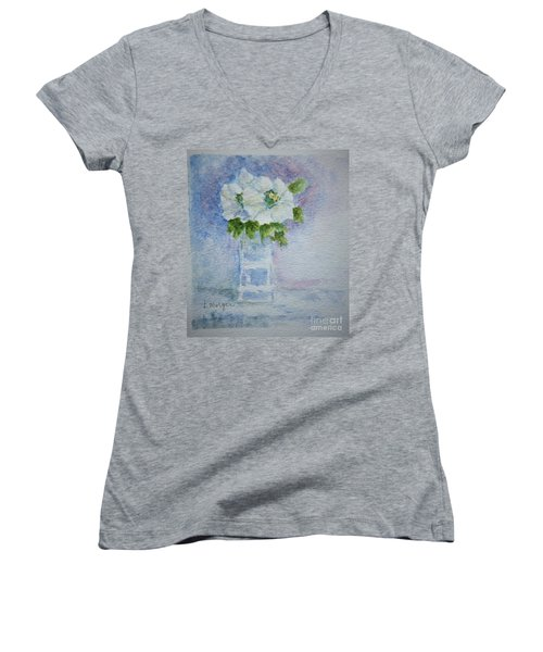 White Blooms In Blue Vase Women's V-Neck