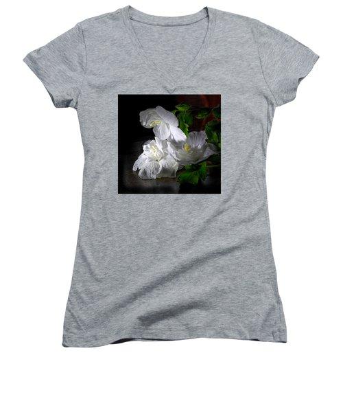 White Blossoms Women's V-Neck