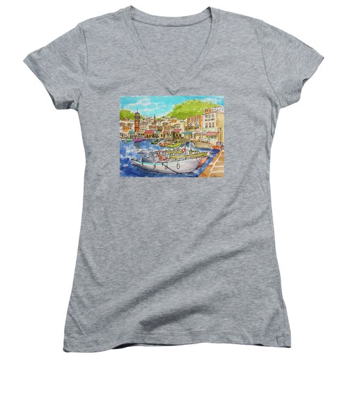 White Boat, Hydra Harbor Women's V-Neck (Athletic Fit)