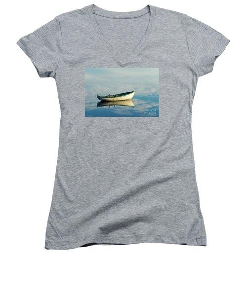 White Boat Reflected Women's V-Neck