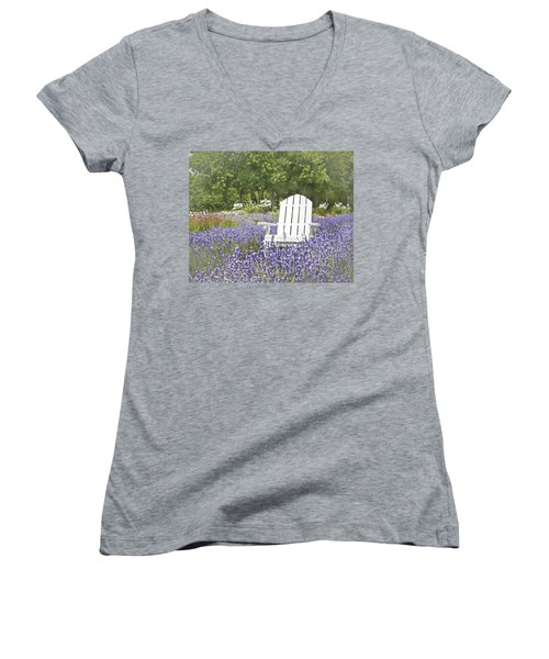 Women's V-Neck T-Shirt (Junior Cut) featuring the photograph White Chair In A Field Of Lavender Flowers by Brooke T Ryan