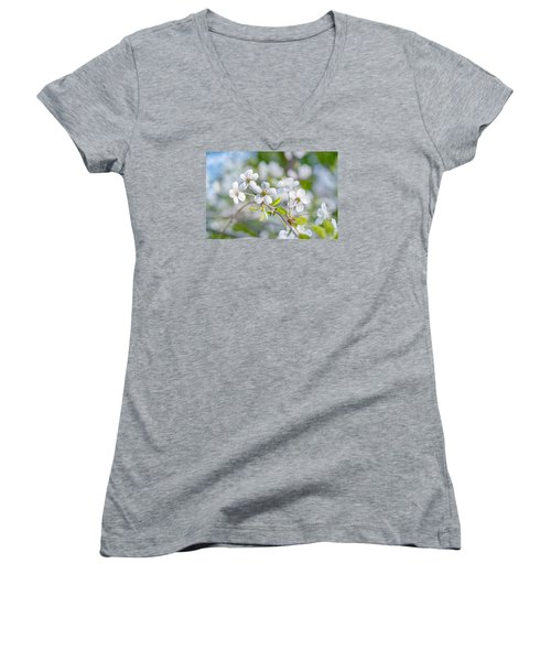 Women's V-Neck T-Shirt (Junior Cut) featuring the photograph White Cherry Blossoms In Spring by Alexander Senin