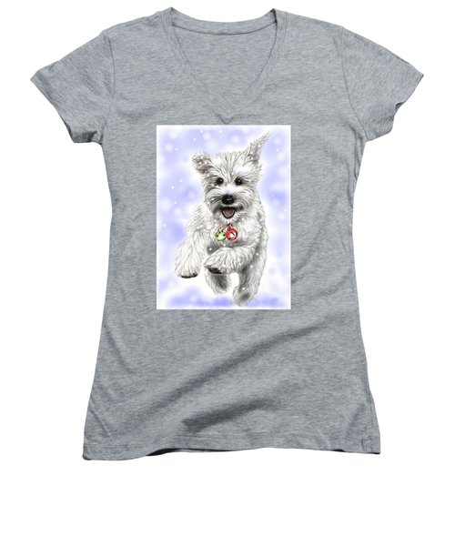 Women's V-Neck T-Shirt (Junior Cut) featuring the drawing White Christmas Doggy by Heidi Kriel