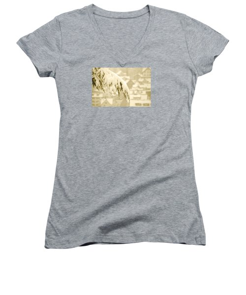 Women's V-Neck T-Shirt (Junior Cut) featuring the photograph White Christmas - Winter In Switzerland by Susanne Van Hulst