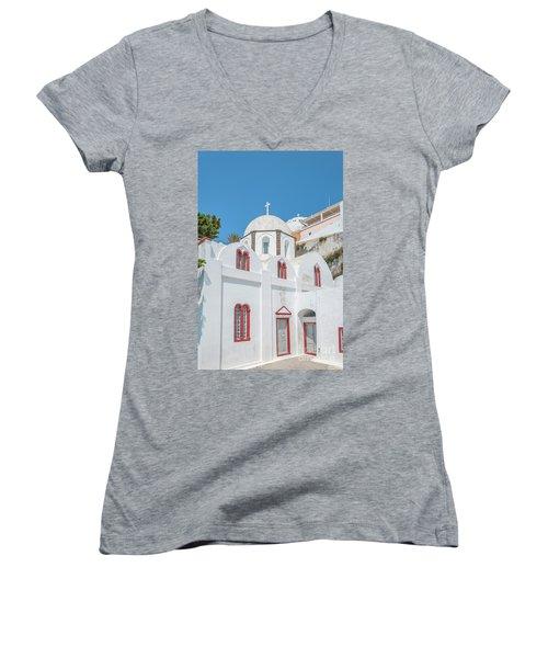 Women's V-Neck T-Shirt (Junior Cut) featuring the photograph White Church At Fira by Antony McAulay