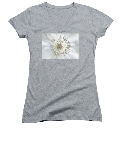 White Clematis Flower Garden 50121b Women's V-Neck (Athletic Fit)