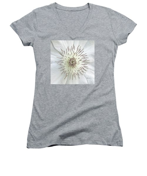 White Clematis Flower Macro 50121c Women's V-Neck