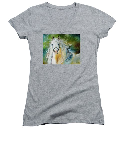 White Cloud The Andalusian Stallion Women's V-Neck T-Shirt (Junior Cut) by Marcia Baldwin