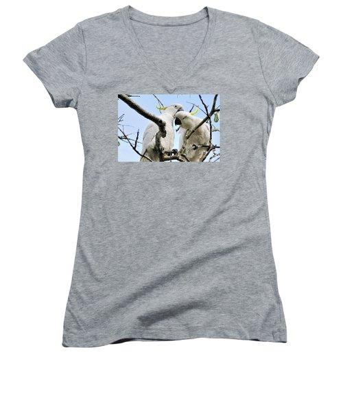 White Cockatoos Women's V-Neck T-Shirt