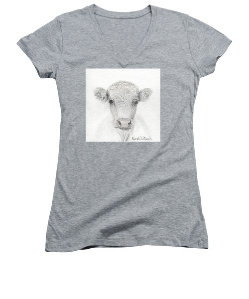 White Cow Women's V-Neck T-Shirt