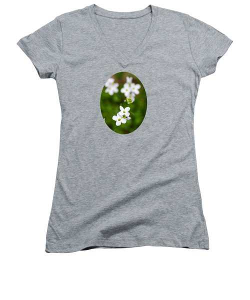 White Cuckoo Flowers Women's V-Neck T-Shirt (Junior Cut) by Christina Rollo