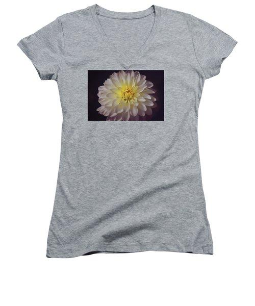 White Dahlia Women's V-Neck T-Shirt