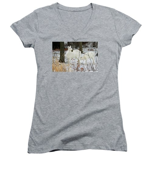 White Deer With Squash 2 Women's V-Neck T-Shirt (Junior Cut) by Brook Burling
