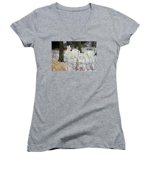 White Deer With Squash 2 Women's V-Neck T-Shirt
