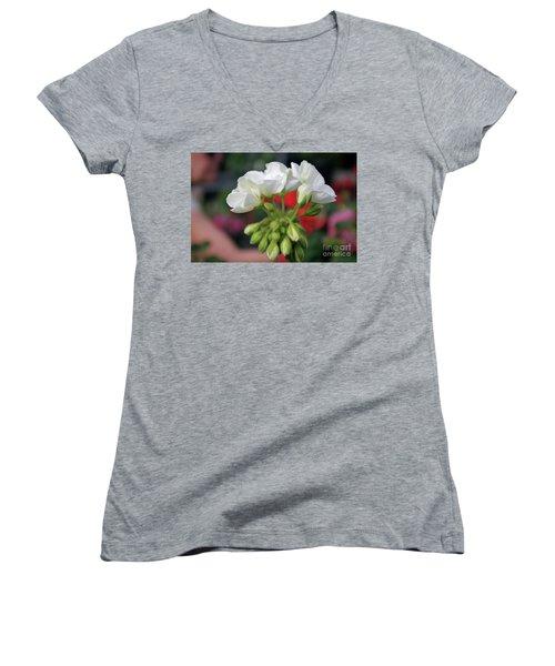 White Details  Women's V-Neck T-Shirt