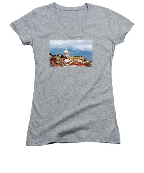 White Dome Against Blue Sky Women's V-Neck T-Shirt (Junior Cut) by Lorraine Devon Wilke