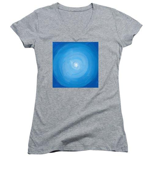 White Dot In Sea Of Blue Women's V-Neck T-Shirt