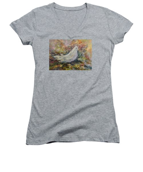 Women's V-Neck T-Shirt (Junior Cut) featuring the painting White Dove by Ellen Anthony