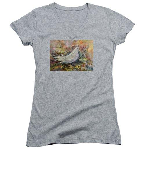 White Dove Women's V-Neck T-Shirt (Junior Cut)