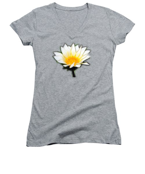 White Flower T-shirt Women's V-Neck T-Shirt (Junior Cut) by Isam Awad