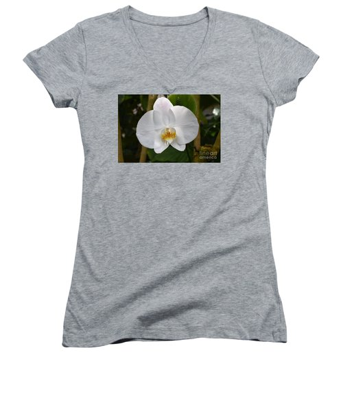 White Flower With Golden Accents Women's V-Neck (Athletic Fit)