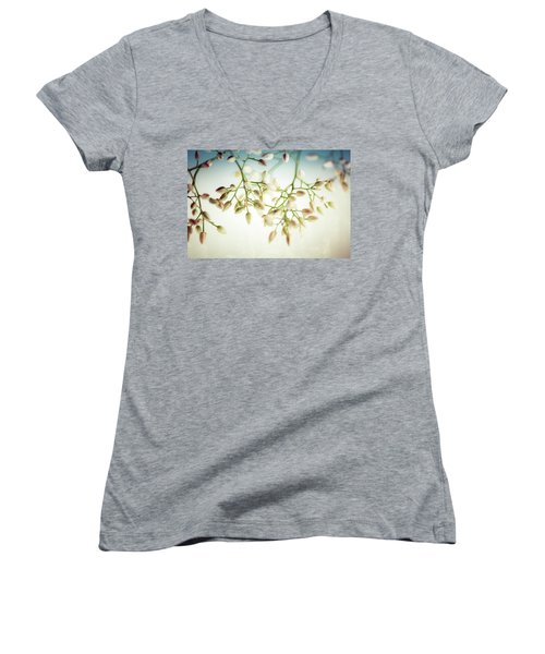 Women's V-Neck T-Shirt (Junior Cut) featuring the photograph White Flowers by Bobby Villapando