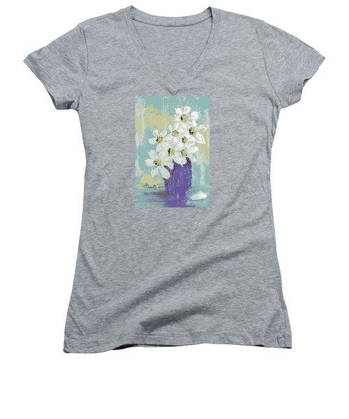 White Flowers Women's V-Neck T-Shirt (Junior Cut) by P J Lewis