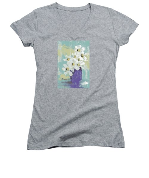 White Flowers Women's V-Neck T-Shirt (Junior Cut)