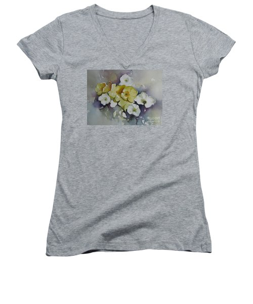 White Flowers, Yellow Flowers... Women's V-Neck (Athletic Fit)