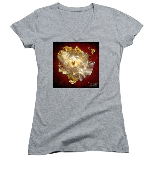 Women's V-Neck T-Shirt (Junior Cut) featuring the painting White Gold by Alexa Szlavics