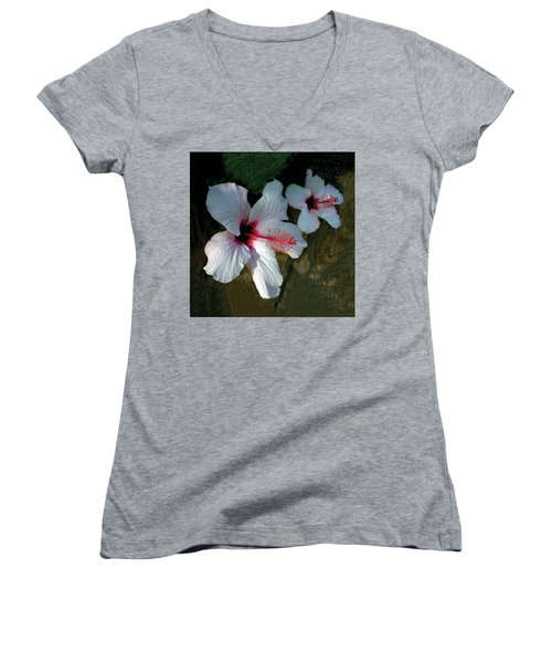 White Hibiscus Pair Women's V-Neck (Athletic Fit)