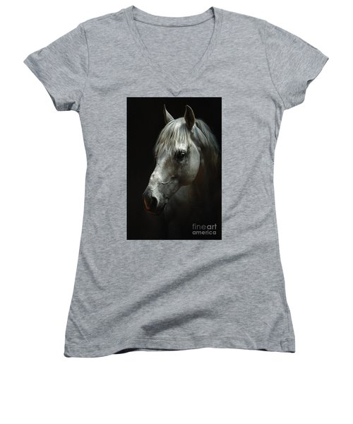 White Horse Portrait Women's V-Neck