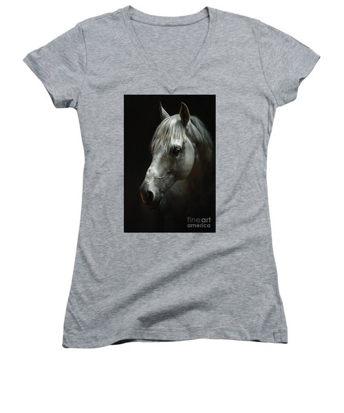 White Horse Portrait Women's V-Neck (Athletic Fit)