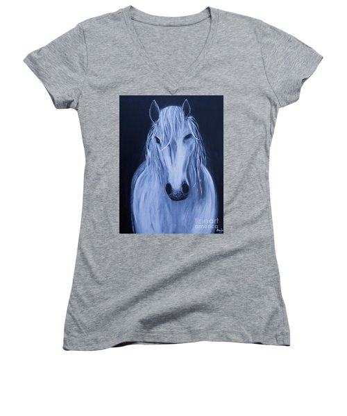 White Horse Women's V-Neck T-Shirt (Junior Cut) by Stacey Zimmerman