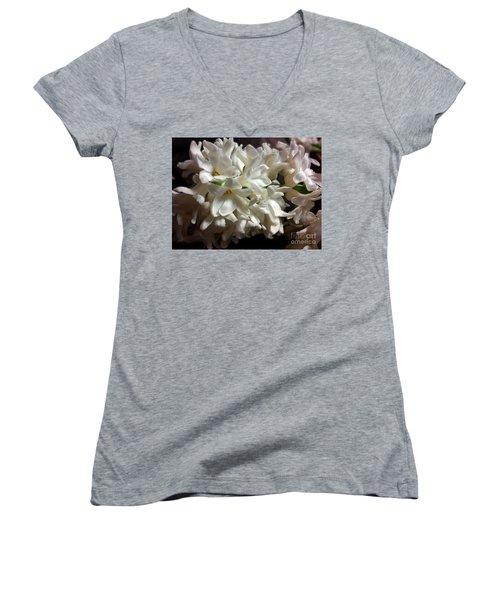 White Hyacinth Women's V-Neck T-Shirt (Junior Cut) by Jasna Dragun