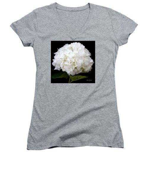 White Hydrangea Women's V-Neck (Athletic Fit)
