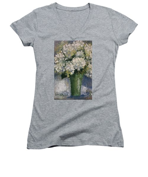 White Hydrangeas Women's V-Neck (Athletic Fit)