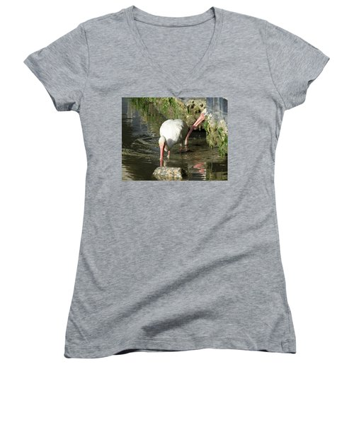 White Ibis Couple Women's V-Neck T-Shirt (Junior Cut) by George Randy Bass