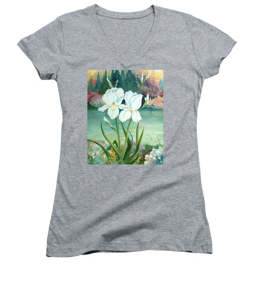 White Iris Love Women's V-Neck T-Shirt (Junior Cut) by Renate Nadi Wesley