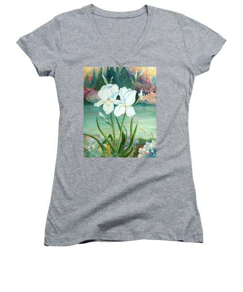 White Iris Love Women's V-Neck (Athletic Fit)