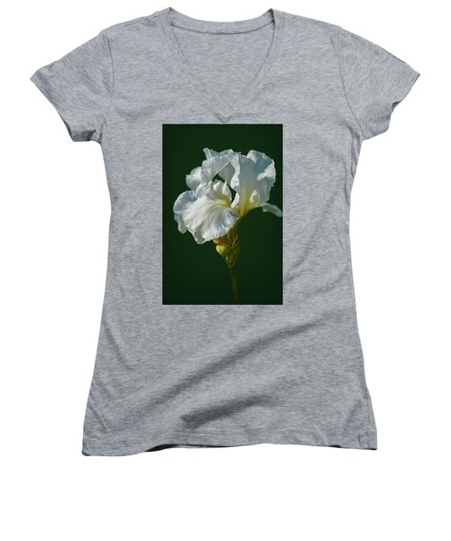 White Iris On Dark Green #g0 Women's V-Neck (Athletic Fit)