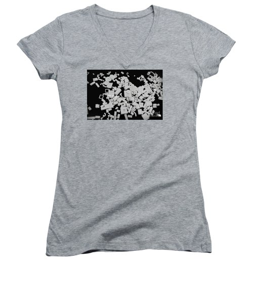 White Lego Abstract Women's V-Neck T-Shirt