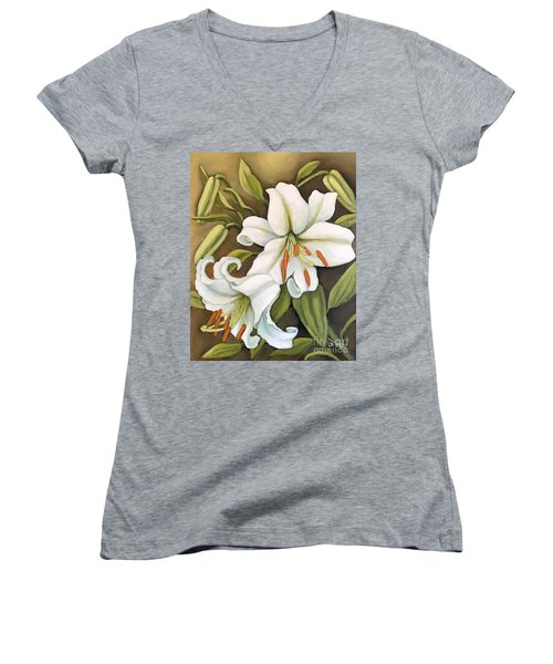 White Lilies Women's V-Neck T-Shirt