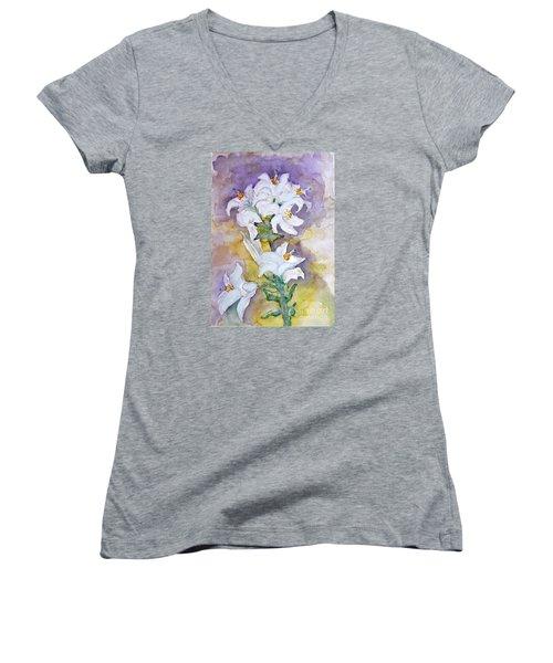 White Lilies Women's V-Neck T-Shirt (Junior Cut) by Jasna Dragun